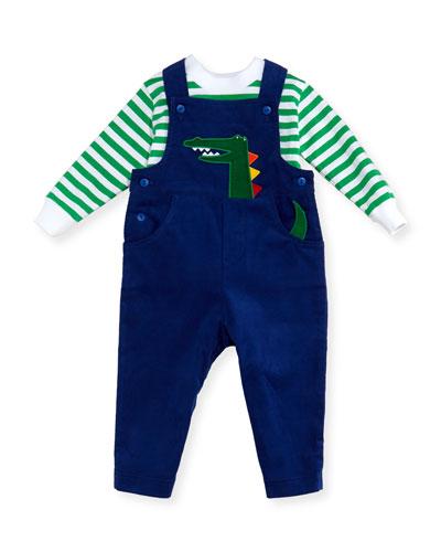 Alligator Corduroy Overalls w/ Striped Crewneck Shirt, Size 6-24 Months