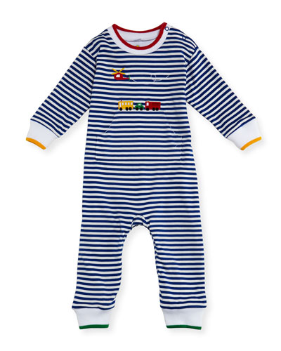 Striped Knit Coverall w/ Helicopter Embroidery, Size 3-18 Months