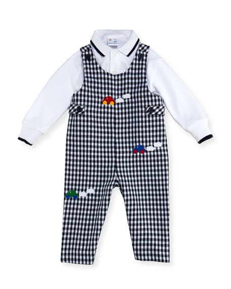Florence Eiseman Checkered Twill Overalls w/ Knit Polo,