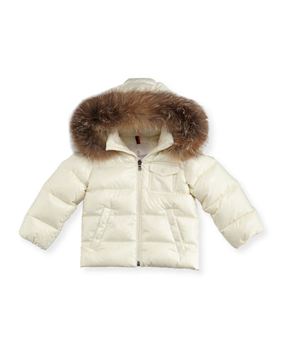 K2 Hooded Fur-Trim Puffer Coat, Size 12M-3