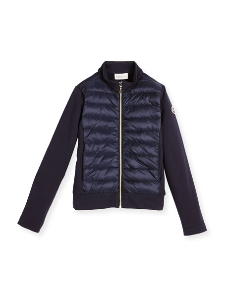 Zip-Up Quilted & Knit Jacket, Size 8-14