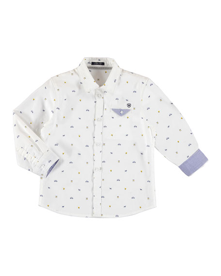 MAYORAL Long-Sleeve Logo-Print Button Down Sport Shirt, Size