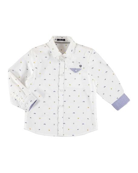 Long-Sleeve Logo-Print Button Down Sport Shirt, Size 3-7