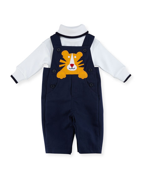 Twill Tiger Overalls w/ Long-Sleeve Turtleneck, Size 3-24 Months