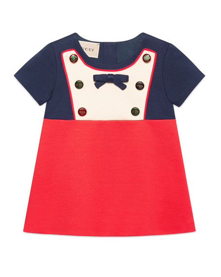 Short-Sleeve Button & Bow Colorblock Dress, Size 12-36 Months