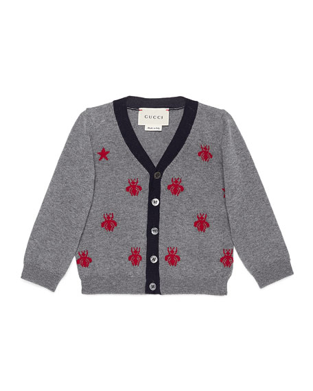 Star and Bees Wool Cardigan, Size 9-36 Months