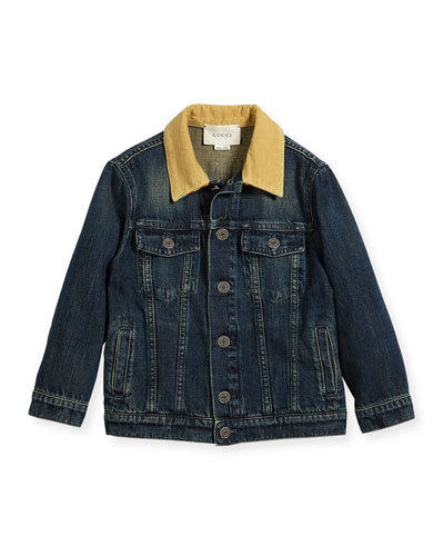 Boys' Corduroy-Collar Logo Denim Jacket, Size 5-12