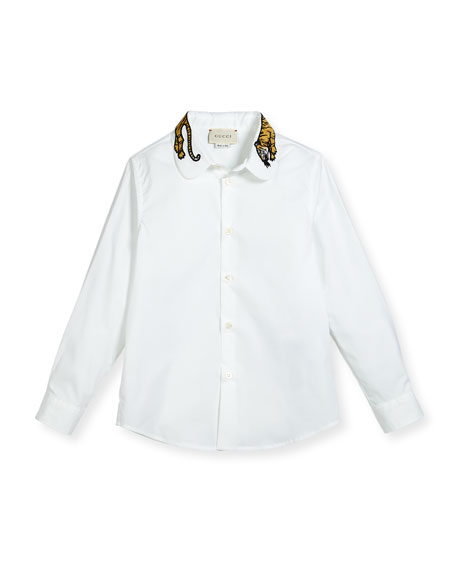 Gucci Long-Sleeve Button-Down Shirt w/ Tiger Collar, White, Size 4-12