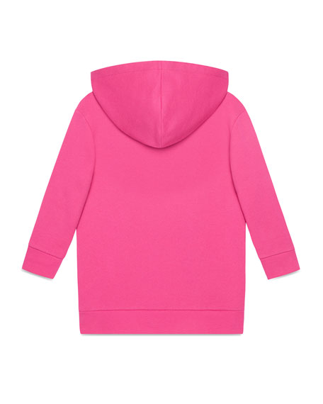 Gucci Print Raw-Edge Hooded Sweater Dress, Size 4-12