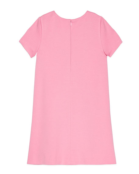 Short-Sleeve Ruffle Trim Stretch Dress, Size 4-12