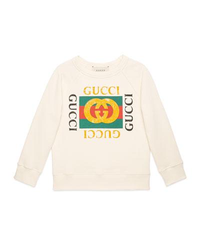 Long-Sleeve Gucci Print Sweatshirt, Size 4-12
