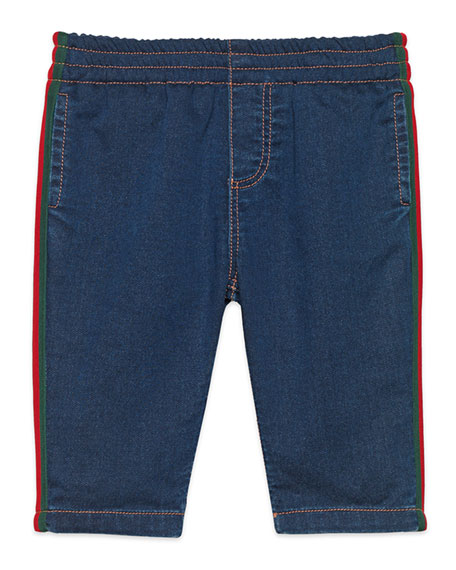 Denim Leggings with Web Trim, Size 9-36 Months