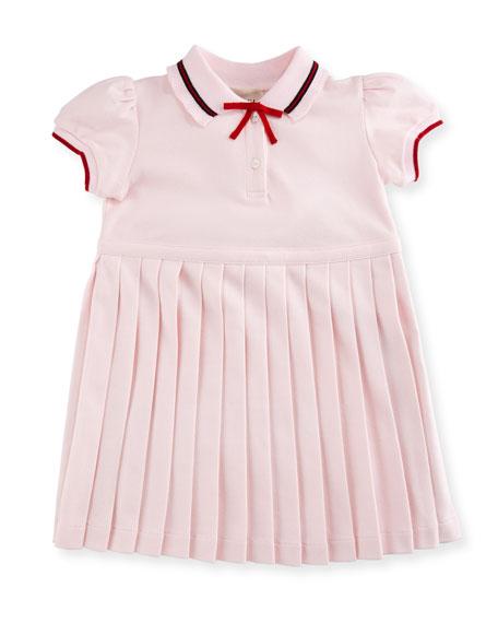 Sylvie Accordion-Pleat Polo Dress, Size 6-36 Months