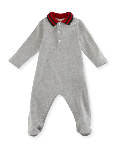 Knit Web Collar Stretch Piquet Footie Pajamas, Size 0-9 Months