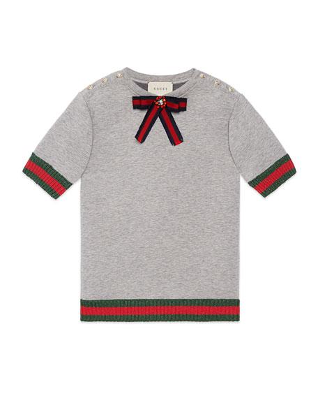 Web Bow Embellished Shirtdress, Size 4-12