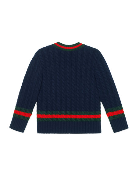 Long-Sleeve V-Neck Wool Sweater, Size 4-12