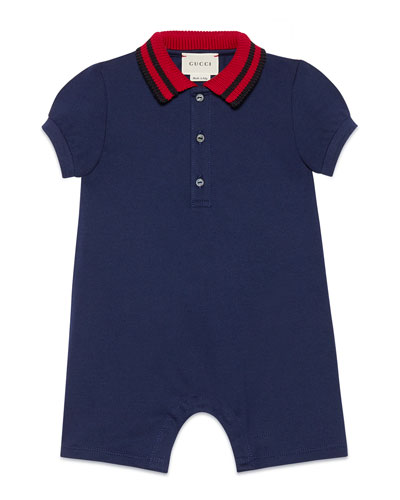 Knit Web Collar Stretch Piquet Shortall, Size 3-18 Months