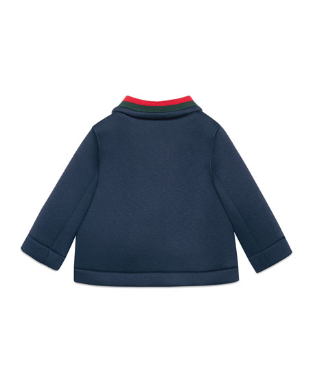 Double-Breasted Feline-Button Peacoat, Size 12-36 Months