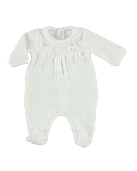 Velour Footie Pajamas w/ Lace Yoke, Size 1-9 Months