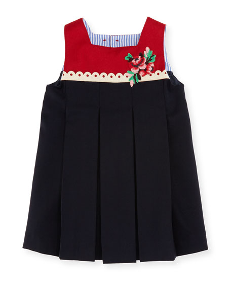 Gucci Sleeveless Embroidered Flower Dress, Size 12-36 Months