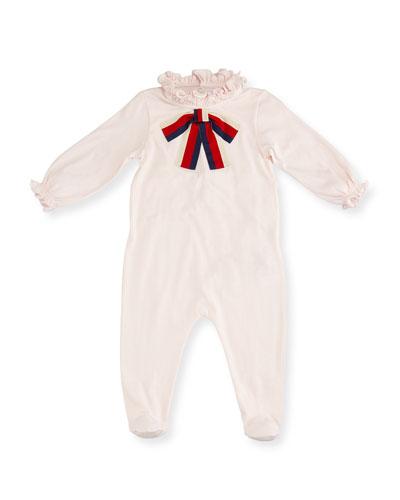 Ruffle Footie Pajamas w/ Sylvie Web Bow, Size 0-9 Months