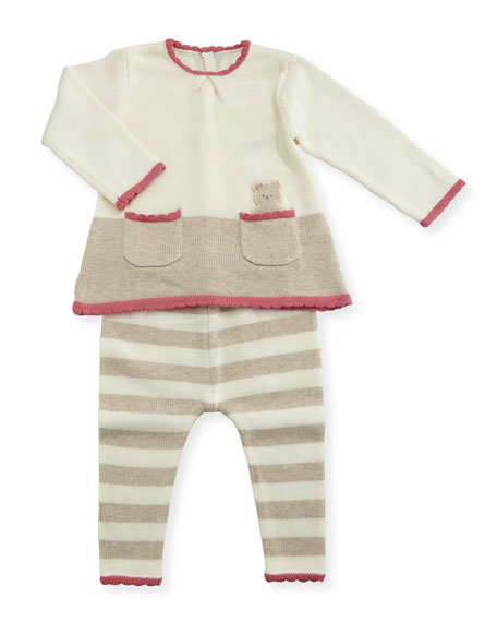 MAYORAL Bear-in-Pocket Knit Dress w/ Striped Leggings, Size