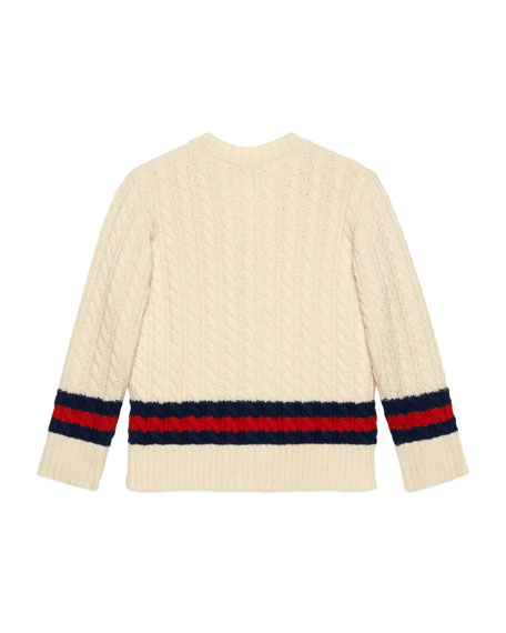 Long-Sleeve Web Cable-Knit Cardigan, Size 4-12