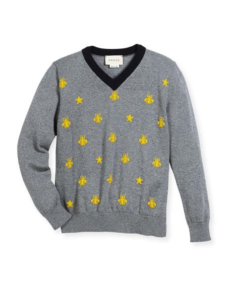 Gucci Long-Sleeve Bees & Stars Merino Wool Sweater,