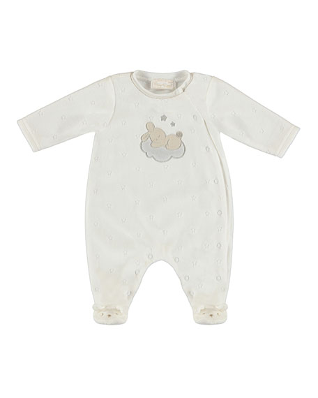 MAYORAL Bunny on Cloud Velour Footie Pajamas, Size