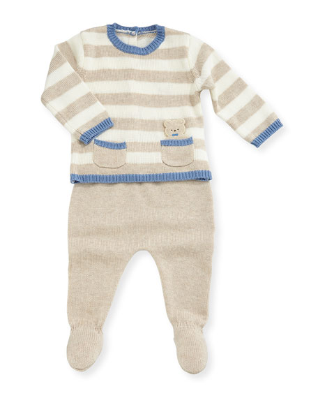 Striped Knit Top w/ Footed Pants, Size 1-9 Months