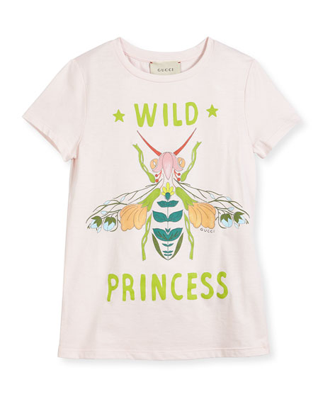 Gucci Short-Sleeve Wild Princess Bee Tee, Size 4-12