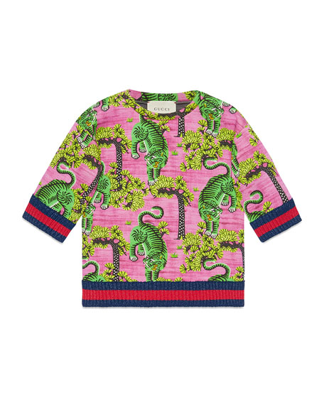 Bengal Print Cotton Sweatshirt, Size 4-12