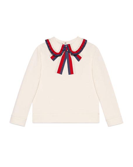 Long-Sleeve Sylvie Web Trim Sweatshirt, Size 4-12
