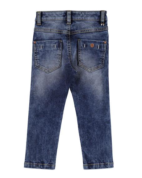 Slim-Fit Pique Denim Jeans, Size 3-7