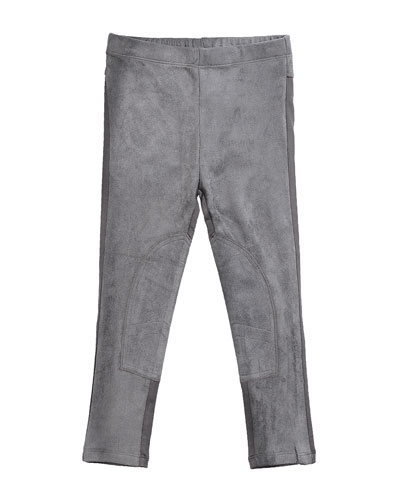 Stretch Suede and Jersey Leggings, Gray, Size 8-14