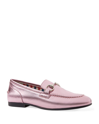 Metallic Leather Moccasin, Kids' Sizes 10T-2Y