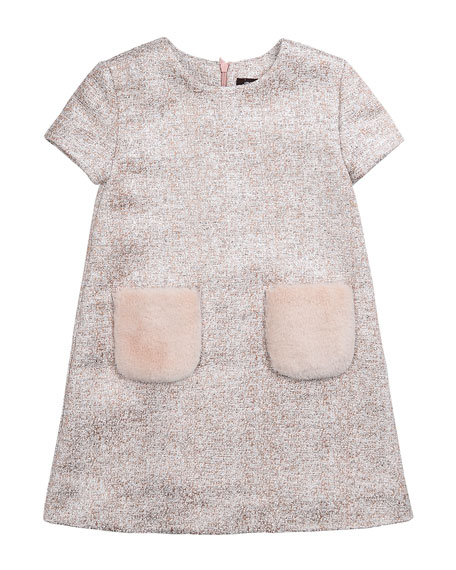 Tweed Dress with Faux Fur Pockets, Pink, Size 2-6