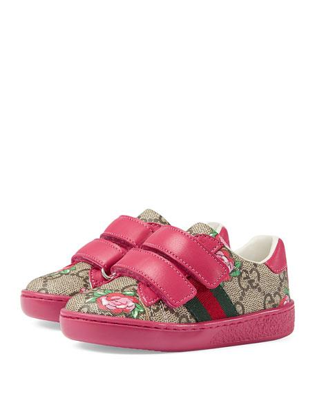 GG Supreme & Rose Bud Print Sneaker, Toddler