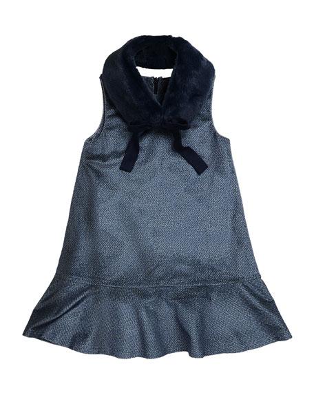 Penelope Velour Drop-Waist Faux-Fur Collar Dress, Blue, Size 2-6