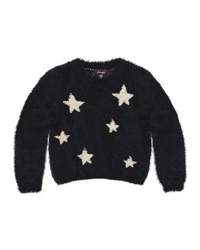 Chelsea Fluffy Knit Star Sweater, Black, Size 2-6
