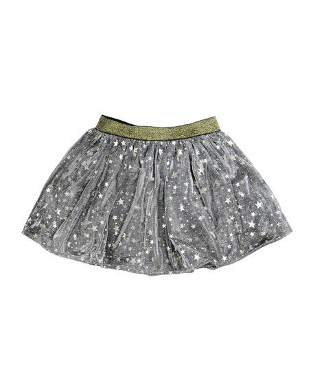 Helen Metallic Mesh Star Skirt, Gray, Size 2-6