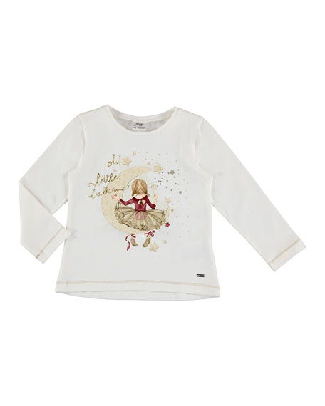 Mayoral Long-Sleeve Girl in Moon Shirt, Size 3-7