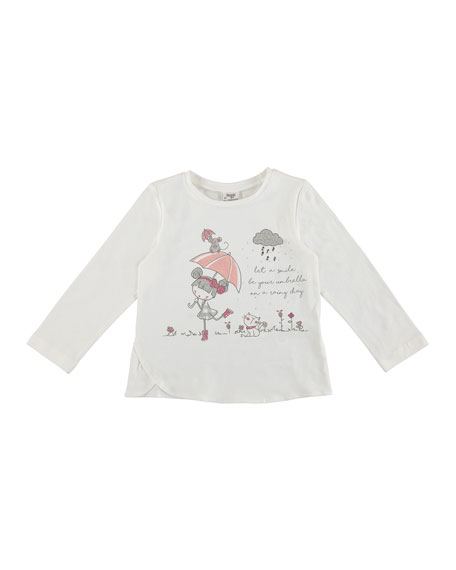 Long-Sleeve Doll with Umbrella Tee, Size 3-7