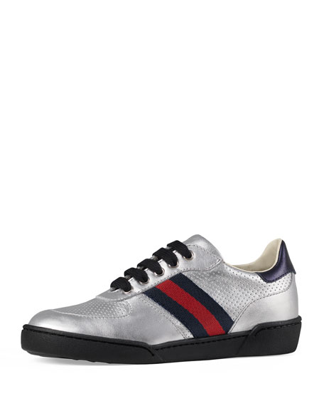 Metallic Leather Sneaker w/ Perforated Detail, Sizes 10T-2Y