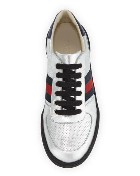 Metallic Web-Trim Sneaker, Youth