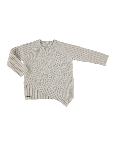 Braided Cable-Knit Sweater, Size 3-7