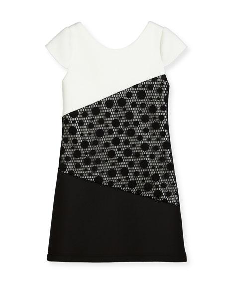 Contrast Tricolor Polka-Dot Dress, Size 7-16