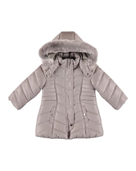 Padded Coat w/ Faux Fur Hood, Size 3-7