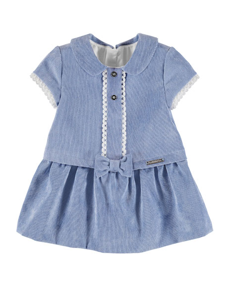 Mayoral Corduroy Dress with Knit and Bow Detail,