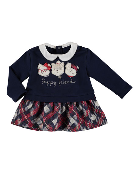 Mayoral Puppy Friends Plaid Sweater Dress, Size 6-36